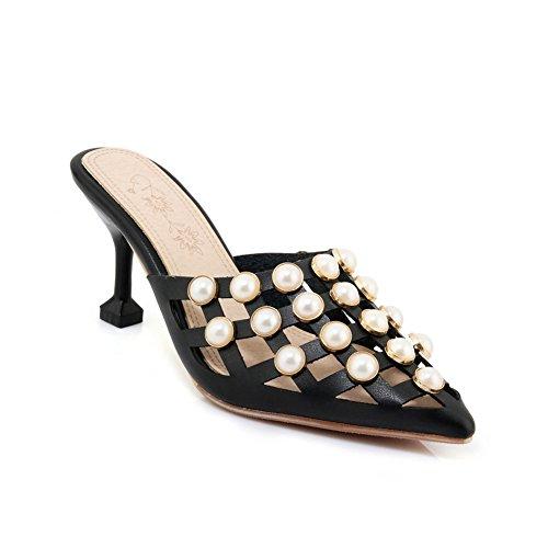 Btrada Women's Sexy Heeled Slide Sandals Pointed Toe Slip On Kitten Heels Mules Outdoor Pumps Dress Shoes (Mule Kitten)