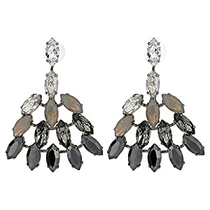 Leto Women's Alloy Drop and Dangle Earring - Grey and White