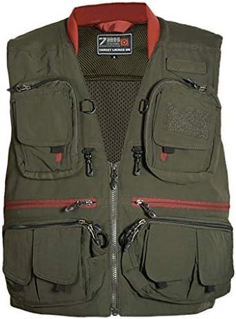 ポケットベスト秋のアウトドアレジャーマルチポケットベスト写真撮影、釣り、メンズベスト (色 : 緑, サイズ さいず : L l)