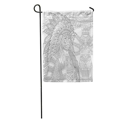 Semtomn Garden Flag Red Indian Chief RedSkin Man Wearing Traditional Headdress Freehand Sketch Home Yard House Decor Barnner Outdoor Stand 28x40 Inches Flag