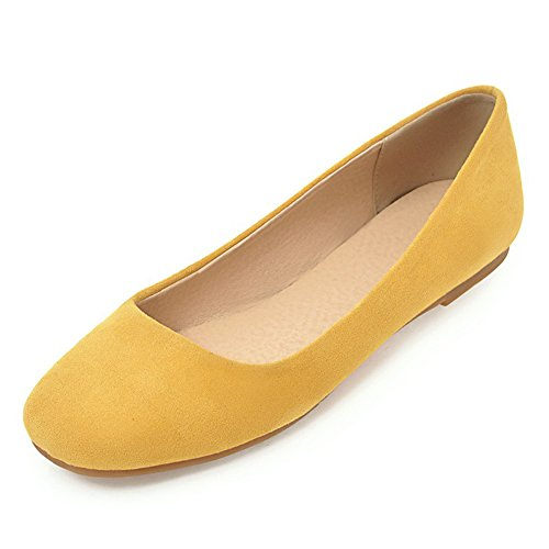 Ballet Loafer Simple Toe JESSI Flats Yellow Women's MAIERNISI Comfy Shoes Round Yqf0Uw
