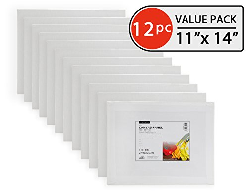 Phoenix 11x14 Inch Painting Canvas Panel Boards 12 Set of Super Value Pack for Professional Artist, Student & Kid