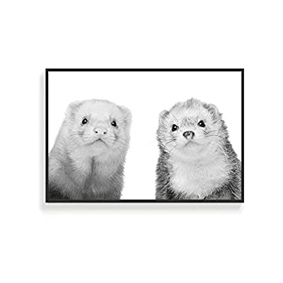 Framed for Living Room Bedroom Black and White Cute Wild Animals for, Crafted to Perfection, Alluring Expert Craftsmanship