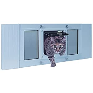 "Ideal Pet Products Aluminum Sash Window Pet Door, Adjustable Width 23"" to 28"", Cat Flap, 6.25"" x 6.25"" Flap Size, White"