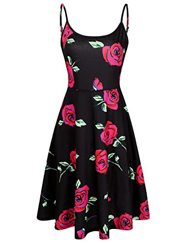 MOOSUNGEEK Womens Floral Print Beach Adjustable Strappy Summer Swing Tank Dress ()