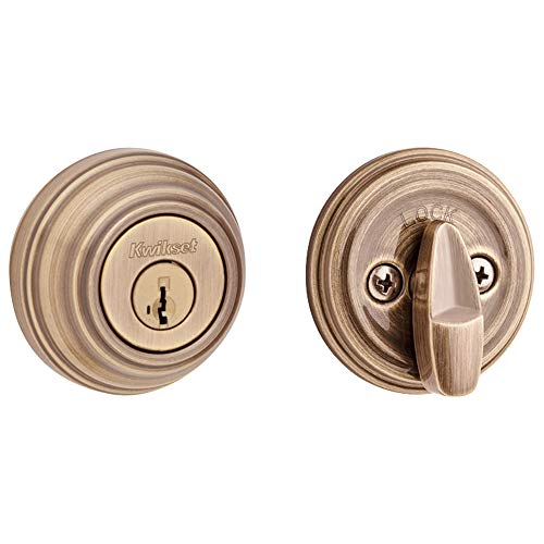- Kwikset 99800-088 980 Single Cylinder Deadbolt Door Lock Set featuring SmartKey Security in Antique Brass