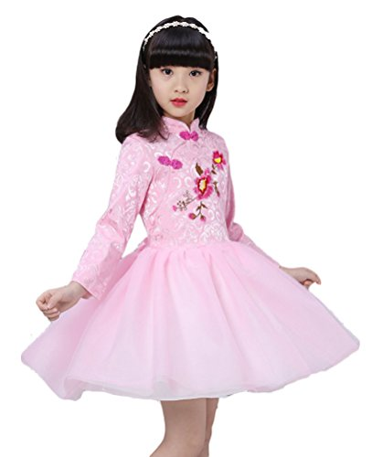 Soojun Kids Girls Long Sleeve Frog Button Cheongsam Dress Chinese Qipao Floral Tutu, 1 Peony Pink, 6-7 Years (Dress Tutu Peony)