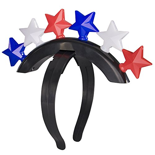 LED Light Up Patriotic USA Red, White and Blue Stars Mohawk Headband