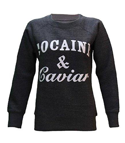 Womens Ladies cocaína y caviar y crema de la crema imprimir sudadera Jersey tamaños 8–�?4 Cocaine & Caviar Charcoal Grey
