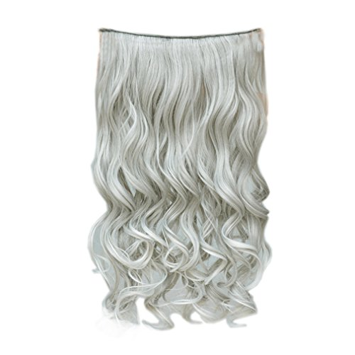 """REECHO 20"""" 1-Pack 3/4 Full Head Curly Wave Grandma Hair Color Clips in on Synthetic Hair Extensions Hairpieces for Women 5 Clips 4.6 Oz per Piece - Silver Grey"""