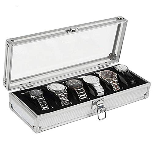 M.M.A 6/12 Grid Slots Watch Box Convenient Light Watch Winder Jewelry Wrist Watches Case Holder Display Storage Box Aluminium Organizer (6Grids)