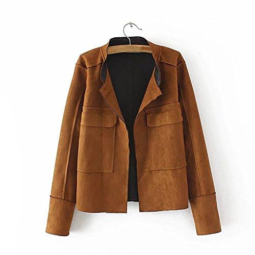 Ladies Suede Leather Coat (YOUMU Women Plus Faux Suede Short Jacket Open Front Pocket Casual Slim Coat (2XL, Coffee))