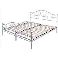 K&A Company Bed Metal Frame Vintage Twin Antique Frames Size Shabby Iron Single White Brass Headboard Footboard Full Tiger Rails Bedroom Original Wood Slats Arched Headboard Queen Size