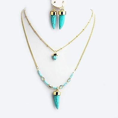 FUKAI Nuevos Conjuntos De Joyas De Piedra Azul Natural Simple para Mujer, Cuentas De Bohemia, Capas, Collares Largos, Pendientes, Accesorios, Fiesta De Boda