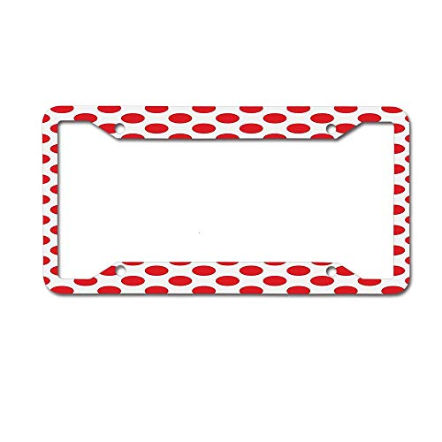- MichelleSmithred Geometric 50s 60s Old Pop Art Retro Vintage Polka Dots Rounds Circles Art Print Scarlet White License Plate Frame Aluminum Metal Tag for US Canada Standard 4 Holes Screws