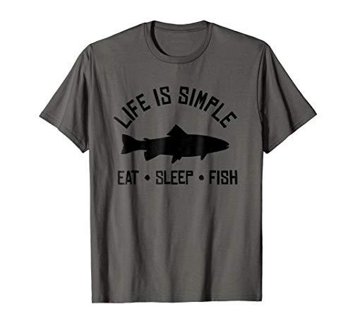 Mens Trout Fishing T-Shirt - Eat Sleep Fish Repeat Fisherman - Fish Eat T-shirt