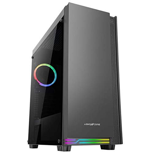 ABKONCORE E-ATX Premium Mid-Tower PC Gaming Case, Pre-Installed RGB Fan, Premium Tempered Glass, Front RGB LED, Magnet Dust Filter, C710S with Two 3.0 USB Ports.