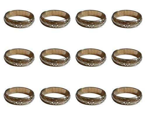 ARN Craft Handmade Gold Napkin Rings Set of 12 Engraved Brass Design for Home Kitchen Dining Room Table (CW- 11-12) ()