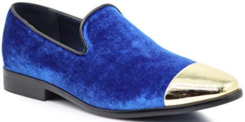 - SPK17 Men's Vintage Fashion Velvet Chrome Toe Designer Dress Loafers Slip On Shoes Classic Tuxedo Dress Shoes (9 D(M) US, Royal Blue)