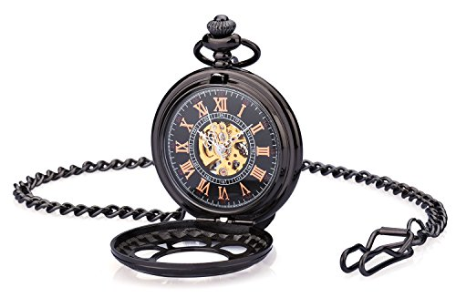 Zeiger Copper Case Classic Skeleton Roman Design Stainless Steel Mechanical Pocket Quartz Watch With Chain 0118