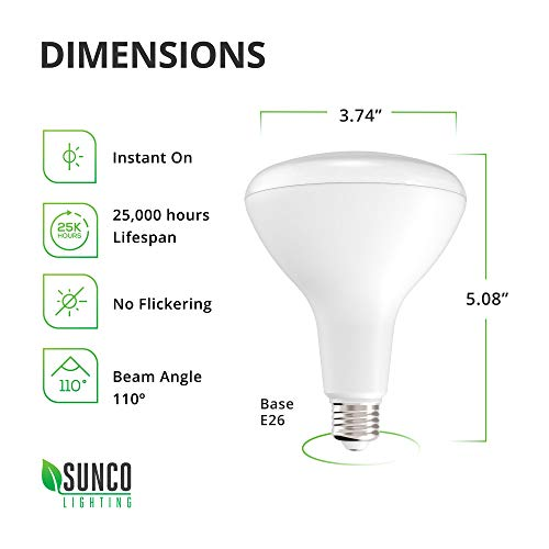 Sunco Lighting 4 Pack BR30 LED Bulb 11W=65W, 5000K Daylight, 850 LM, E26 Base, Dimmable, Indoor Flood Light for Cans - UL & Energy Star