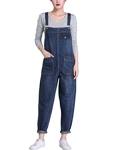 l Denim Cropped Harem Overalls Pant Jeans Jumpsuits_Large_Blue (Women Denim Overalls)