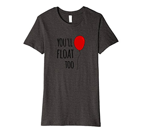 Womens Red Balloon You'll Float Too Halloween Horror T Shirt Small Dark Heather