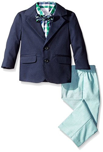 IZOD Baby Twill/Chambray Duo Set With Bow Tie, Navy, 12 Months