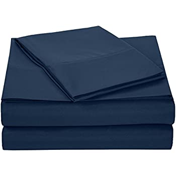 amazonbasics microfiber sheet set twin extra long navy blue home kitchen. Black Bedroom Furniture Sets. Home Design Ideas