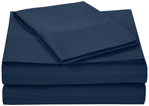 AmazonBasics Microfiber Sheet Set - Twin Extra-Long, Navy Blue ()