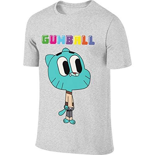 JUDSON Mens Designed Classic Tops The Amazing World of Gumball Tshirt Gray