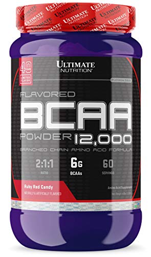 Ultimate Nutrition Flavored BCAA Powder - Caffeine Free with 3g Leucine 1.5g Valine 1.5g Isoleucine - Post Workout Amino Acid Supplement, Red Ruby Candy, 60 ()
