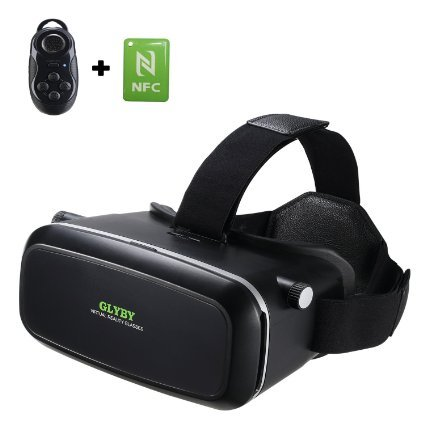 Glyby 3D VR Virtual Reality Glasses Headset with Head-mounted Headband and NFC Tag for 3.5-6.0 Inch Google, iPhone, Samsung Note, LG Nexus, HTC, Moto Smartphones