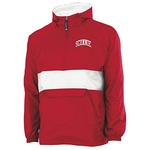 Sconnie Original Embroidered Charles River Nylon Pullover - Small - Red/White (Badgers Tee Wisconsin Pack)