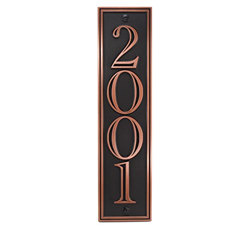 Hesperis Vertical Address Plaque 4# 5x20 - Raised Copper Patina Coated by Atlas Signs and Plaques