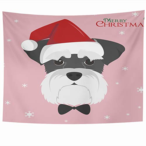 Ahawoso Tapestry 80x60 Inch Graphic Flat Christmas Schnauzer Dog Red Happy Holidays Adorable Breed Canine Celebration Tapestries Wall Hanging Home Decor for Living Room Bedroom Dorm