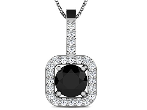Or Blanc 14 ct Pendentifs Diamant en forme de Carré, 0.57 Ct Diamant, GH-SI, 1.23 grammes.