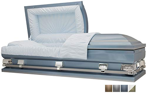 Titan Casket - Atlas Oversize Light Blue Steel Casket with Light Blue Crepe Interior