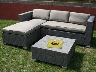 Salon de jardin aluminium et textilène MALIBU capuccino DCB Groupe ...