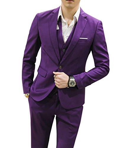 MOGU Mens Suits Slim Fit 3 Piece US Size 36 Purple