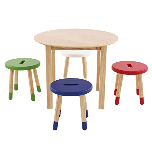 Max & Lily Solid Wood Table/Stool Set, Natural Review