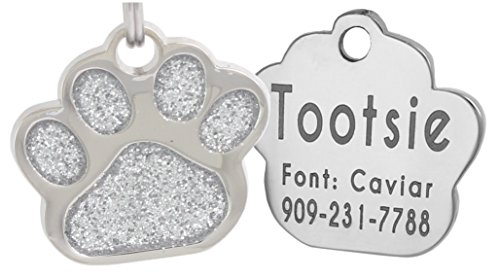 Laser Engraving Glitter Paw Pet ID Tags Custom Personalized for Dog & Cat Paw Print Tag (Silver) ()
