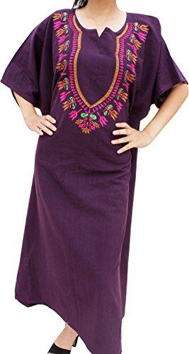 Raan Pah Muang RaanPahMuang BouBou Afrikan Throw Over Dress In Warm Cotton Embroidered Dashiki, Medium, Dark Purple (Embroidered Dress Thai)