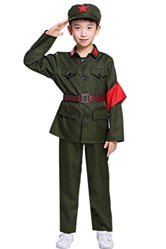 KINDOYO Men Women Boys Girls Military Apparel, Cosplay Costume (Army Green (Long),UK 160 = Tag (Female Military Halloween Costumes)