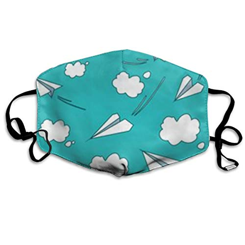 NOT Cartoon Paper Airplane Clouds Personality Lovely Unisex Dust Mask, Suitable for Young Men and Women, Ski Bike Camping Windproof Motorcycle Face Mask