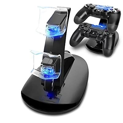PS4 Controller Charger Dock, Mvpone LED Dual USB PS4 Charging Stand Station Cradle for Sony Playstation 4 PS4/PS4 Pro/PS4 Slim Controller with LED Indicator