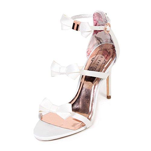 Ted Baker Women's Nuscala Satin Bow High Heel Sandal Ivory-Ivory-6 -