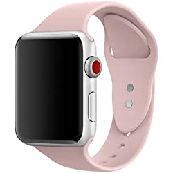 AdMaster Silicone Apple Watch Band and Replacement Sport iwatch Accessories Bands Series 3 2 1 Pink Sand 42mm M/L