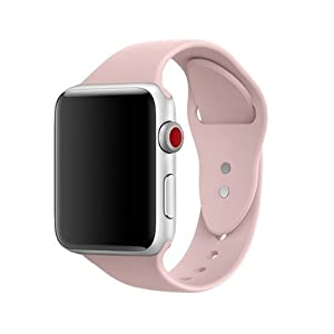 AdMaster Silicone Compatible for Apple Watch Band and Replacement Sport iwatch Accessories Bands Series 3 2 1 Pink Sand 42mm S/M