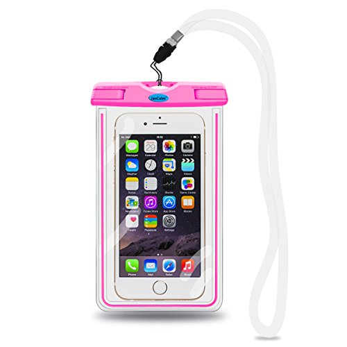 Universal Waterproof Pouch Case,JanCalm [Luminous Feature] IPX8 Certified Protective Smartphone Credit Card Waterproof Bag Life Case for iPhone 6 Plus/6/5s/5/5C/4S,for Galaxy S6,S5,S4 Etc (Pink) (Outter Box For A Lg Optimus)